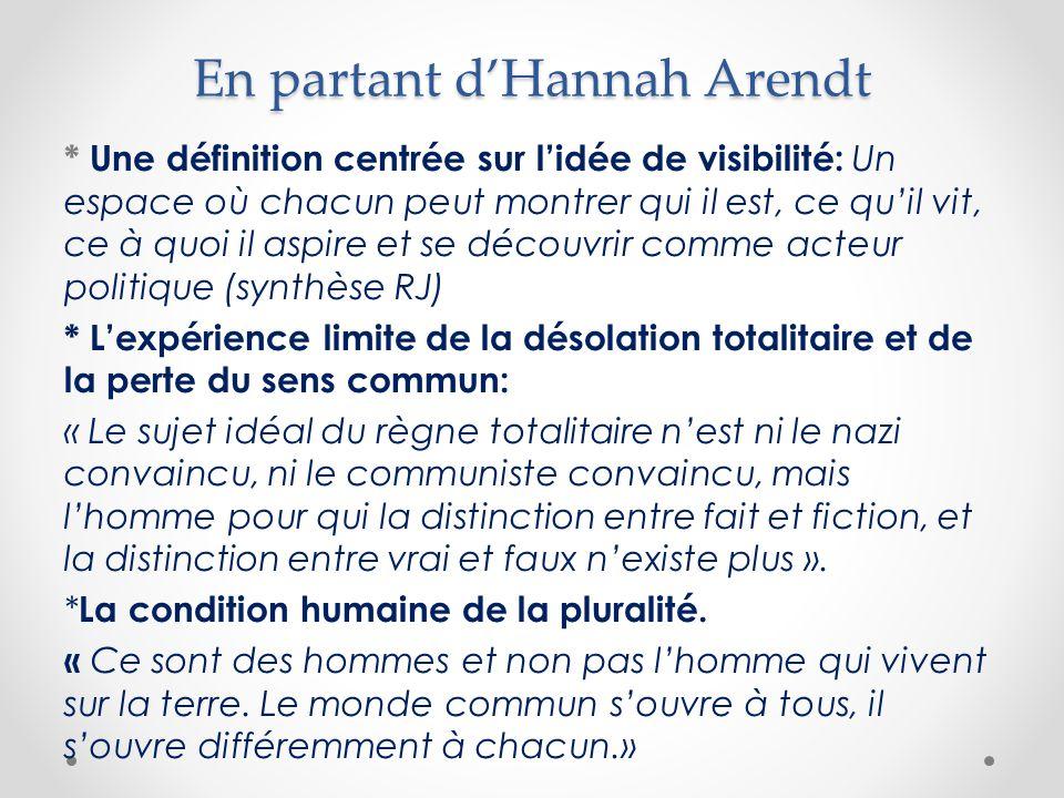 En partant d'Hannah Arendt