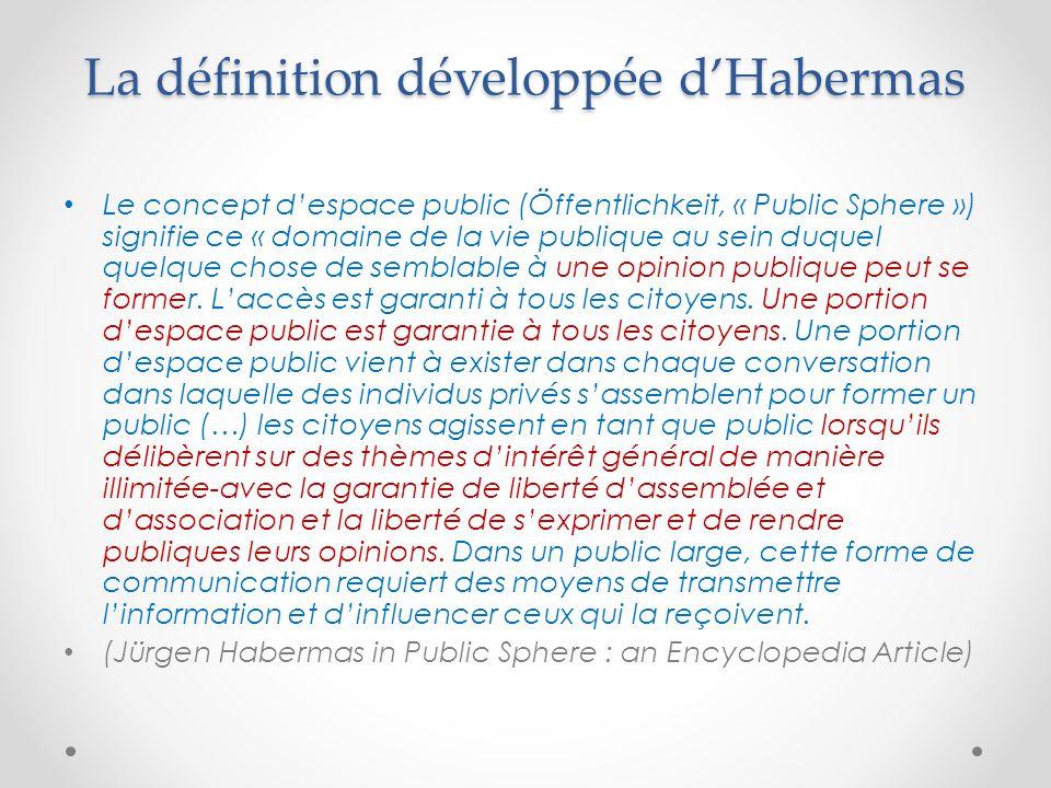 La définition développée d'Habermas