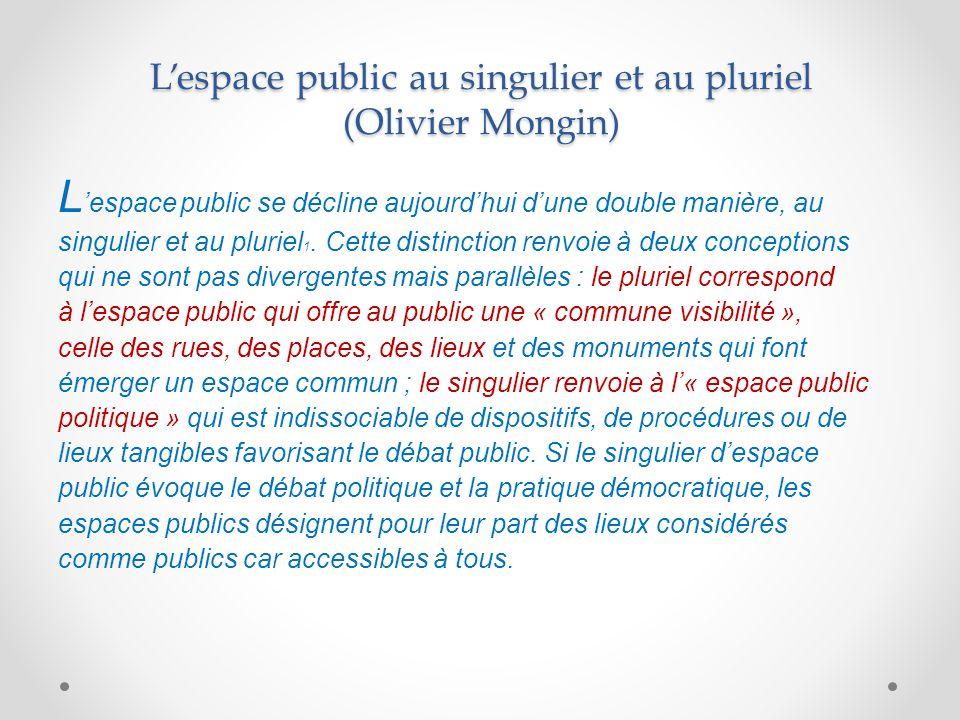 L'espace public au singulier et au pluriel (Olivier Mongin)