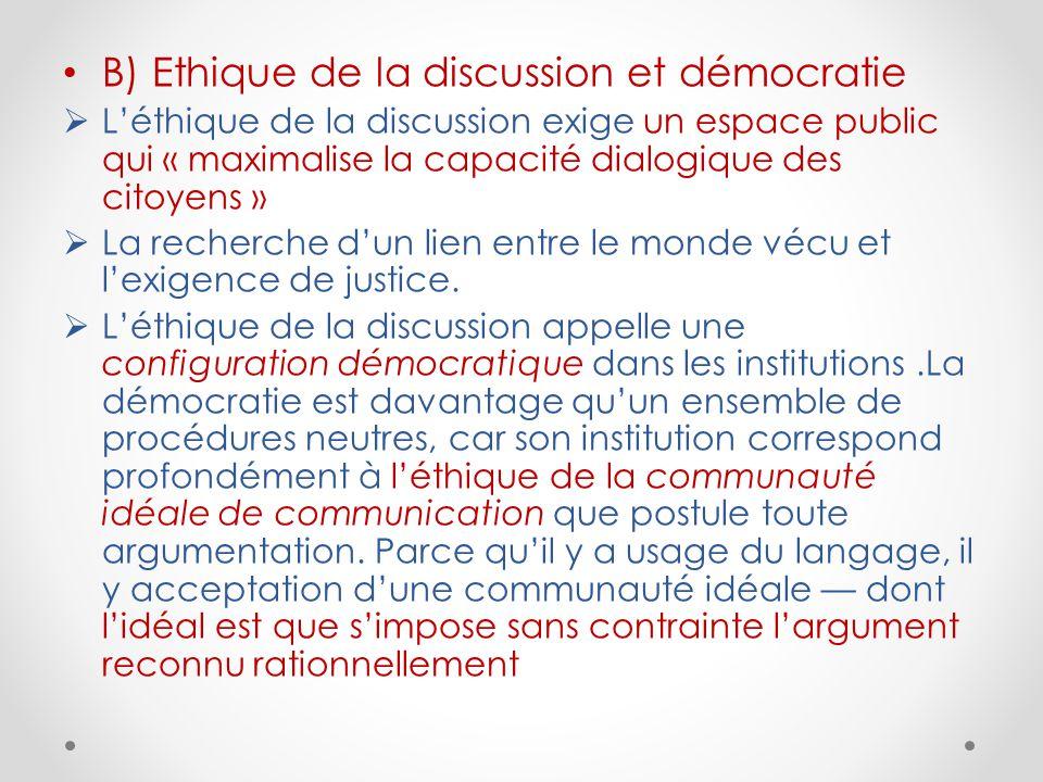 B) Ethique de la discussion et démocratie