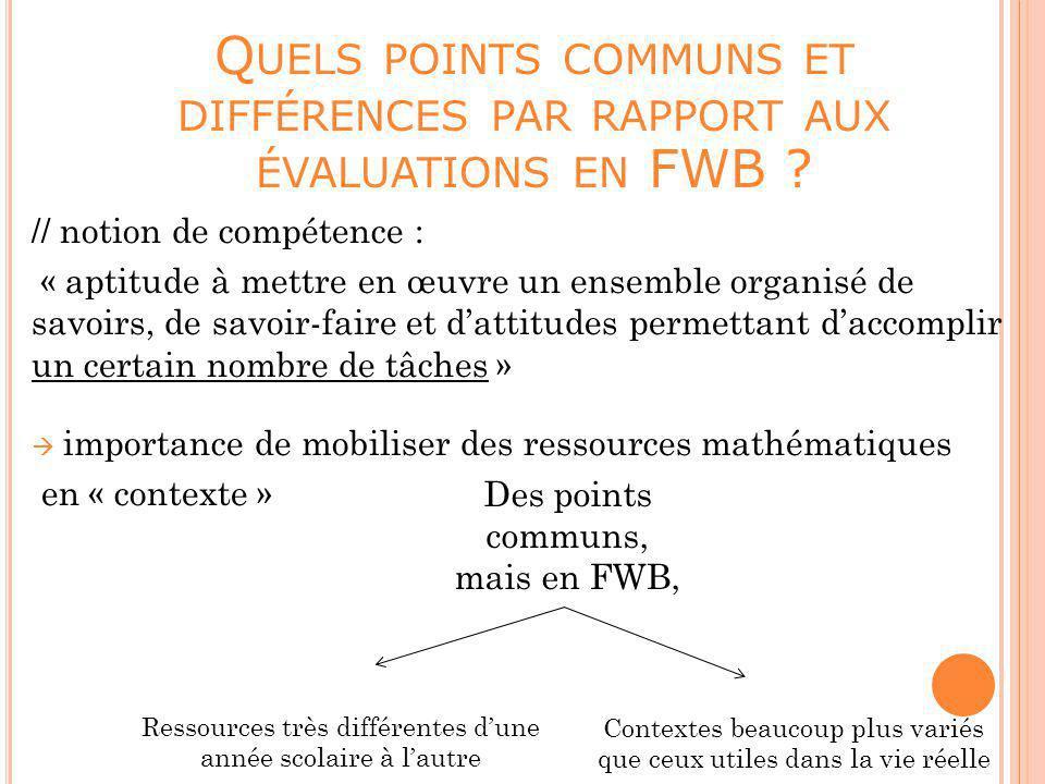 Quels points communs et différences par rapport aux évaluations en FWB