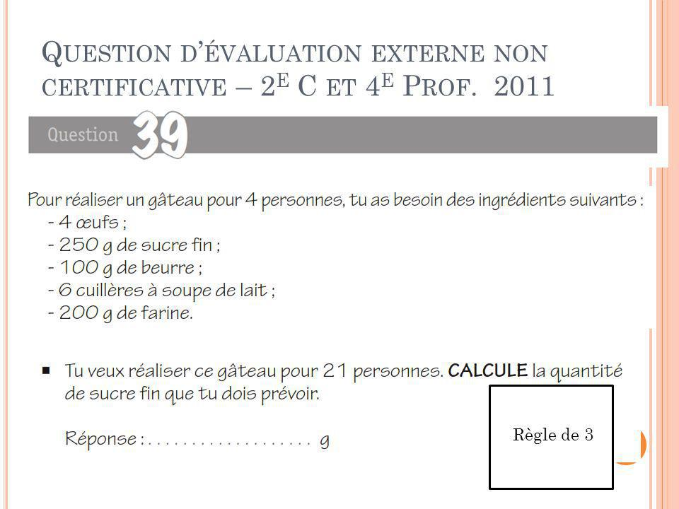 Question d'évaluation externe non certificative – 2e C et 4e Prof. 2011