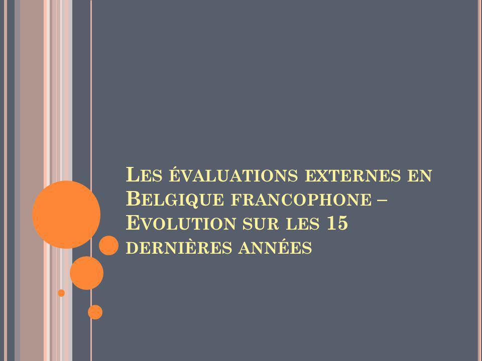 Les évaluations externes en Belgique francophone – Evolution sur les 15 dernières années
