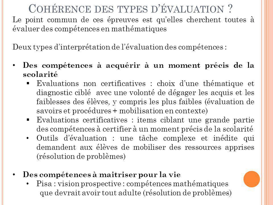 Cohérence des types d'évaluation