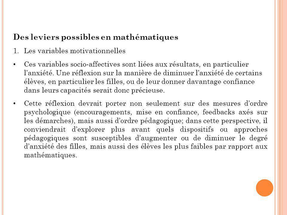 Des leviers possibles en mathématiques