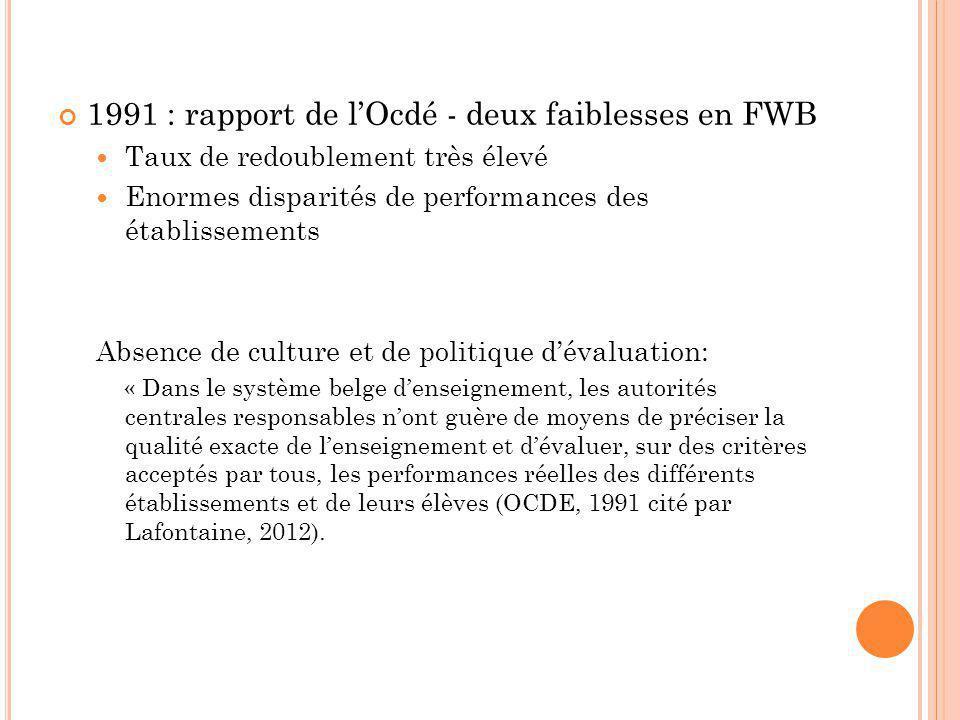 1991 : rapport de l'Ocdé - deux faiblesses en FWB