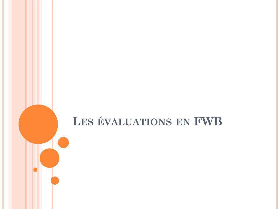 Les évaluations en FWB