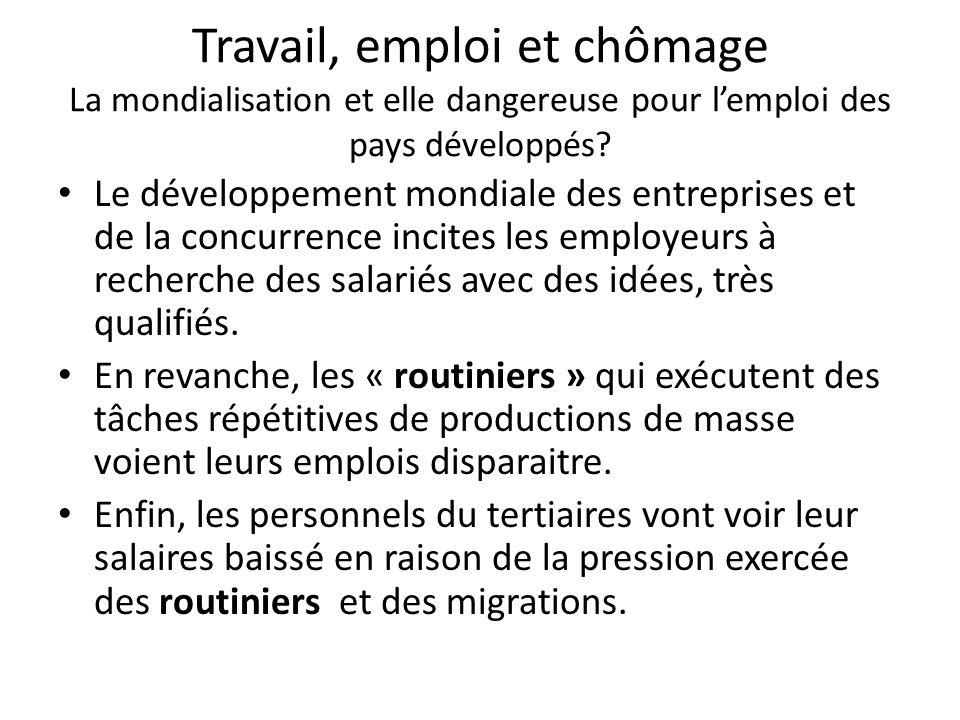 Travail, emploi et chômage La mondialisation et elle dangereuse pour l'emploi des pays développés