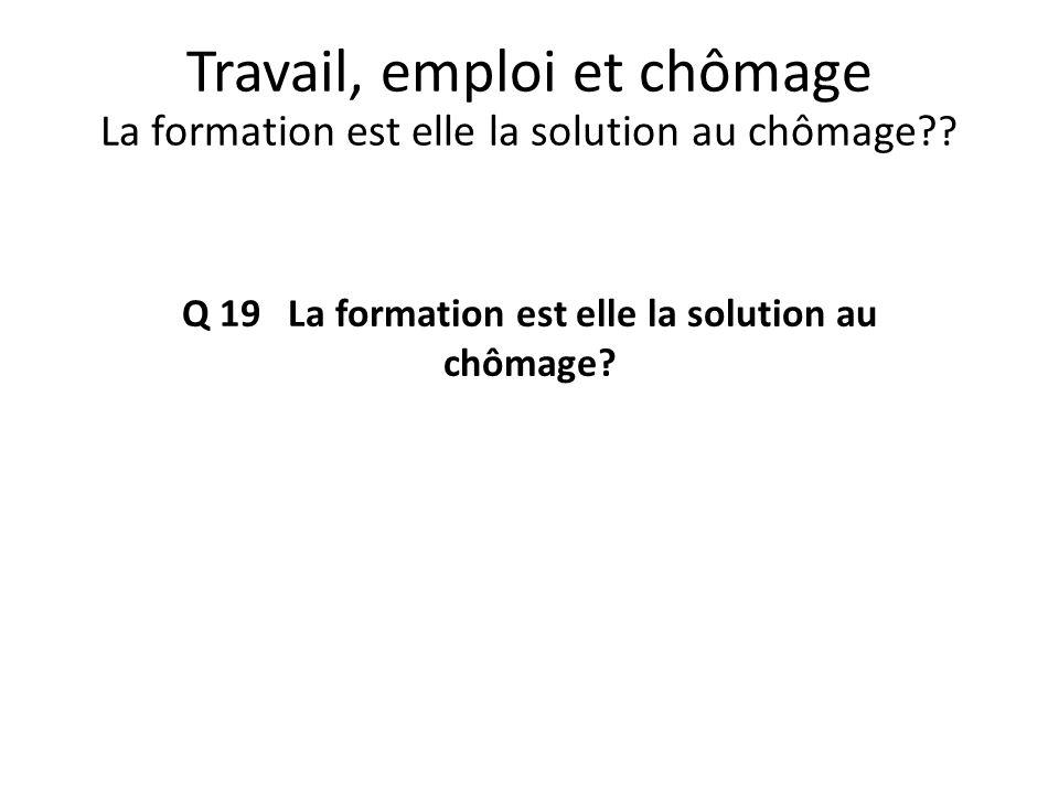 Q 19 La formation est elle la solution au chômage