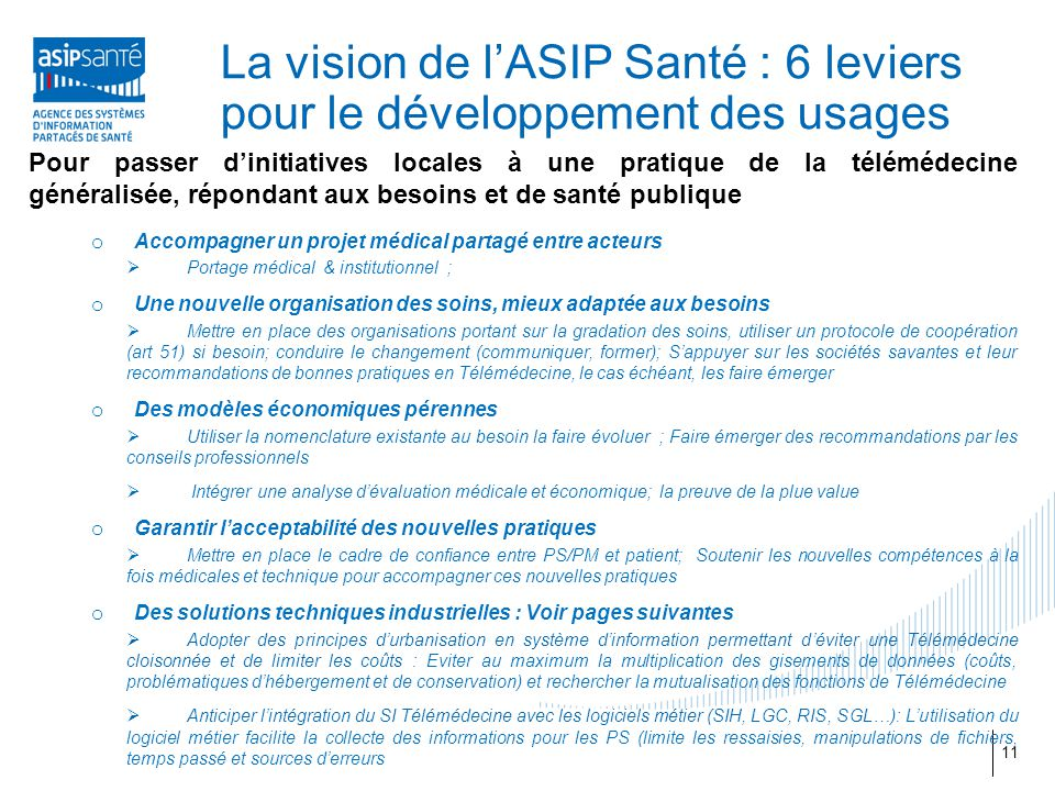 La vision de l'ASIP Santé : 6 leviers pour le développement des usages