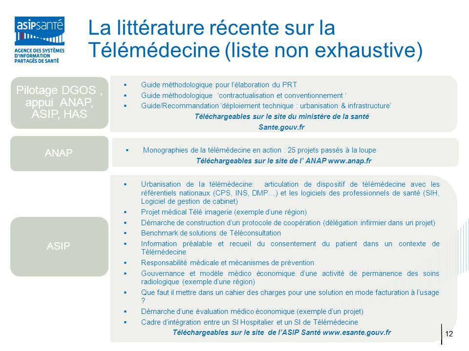 La littérature récente sur la Télémédecine (liste non exhaustive)