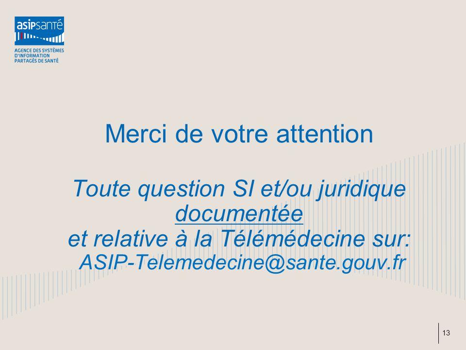 Merci de votre attention Toute question SI et/ou juridique documentée et relative à la Télémédecine sur: ASIP-Telemedecine@sante.gouv.fr