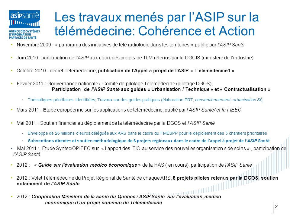 Les travaux menés par l'ASIP sur la télémédecine: Cohérence et Action