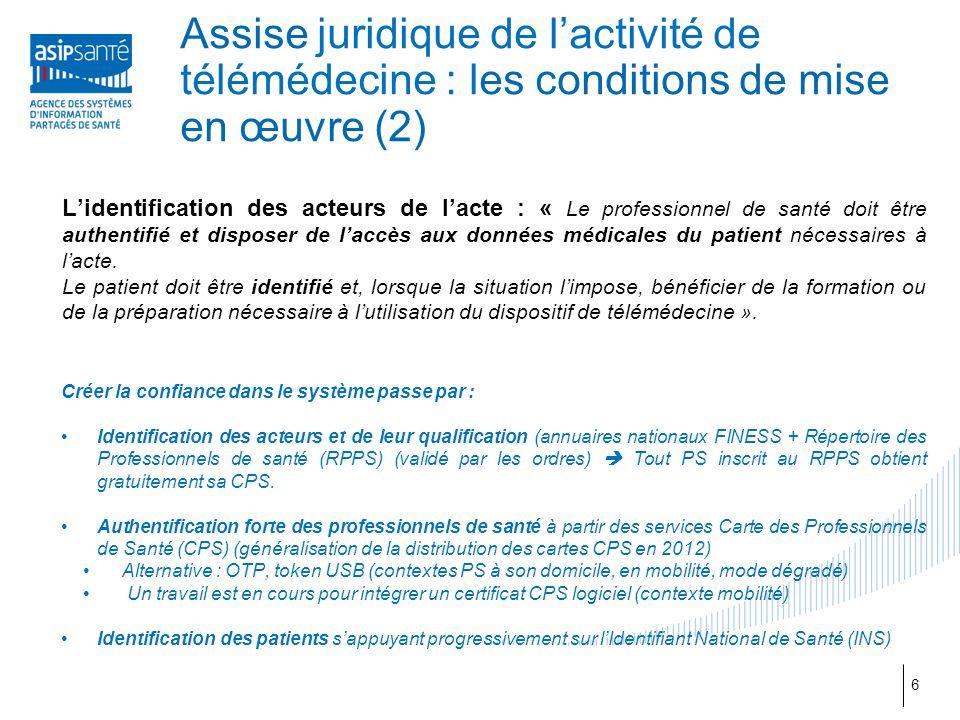 Assise juridique de l'activité de télémédecine : les conditions de mise en œuvre (2)