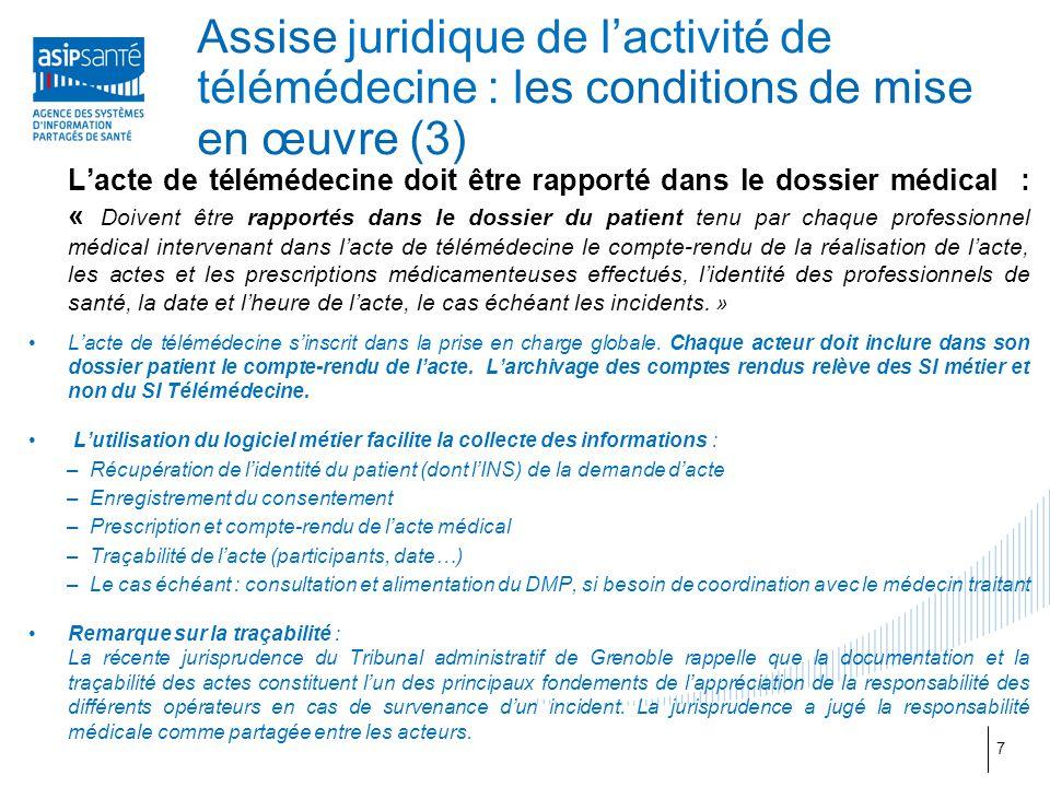 Assise juridique de l'activité de télémédecine : les conditions de mise en œuvre (3)
