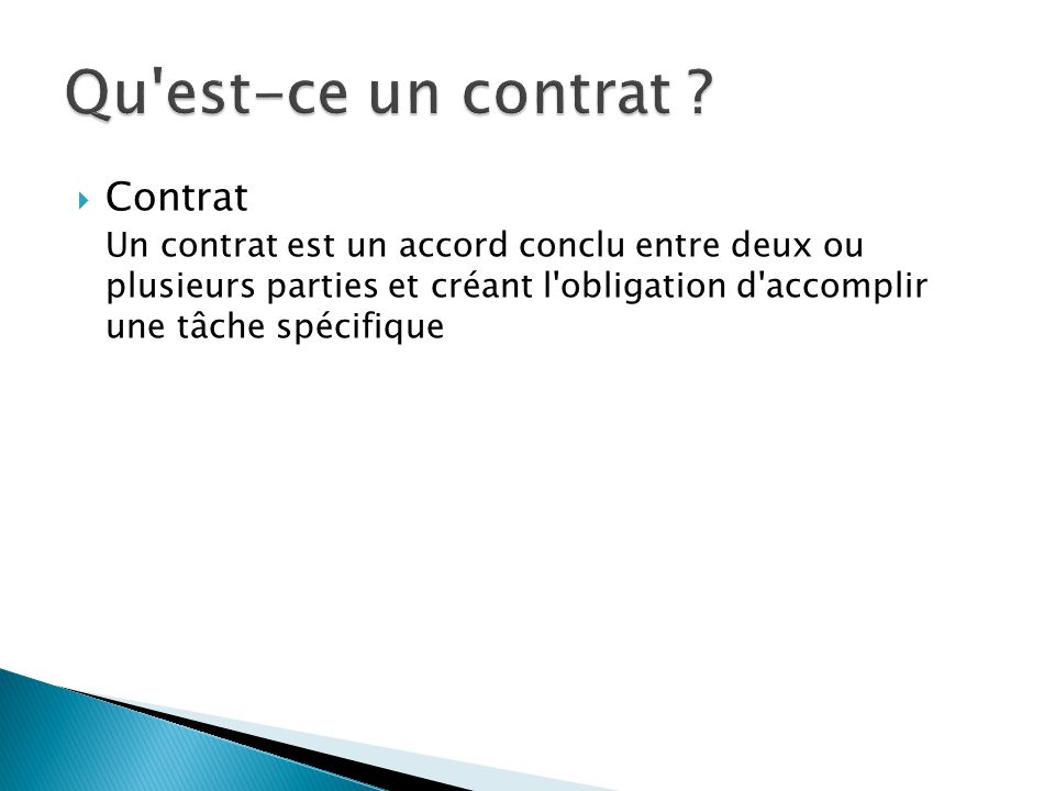 Qu est-ce un contrat Contrat