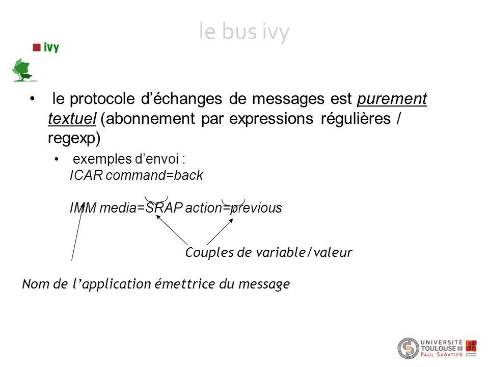 le bus ivy le protocole d'échanges de messages est purement textuel (abonnement par expressions régulières / regexp)
