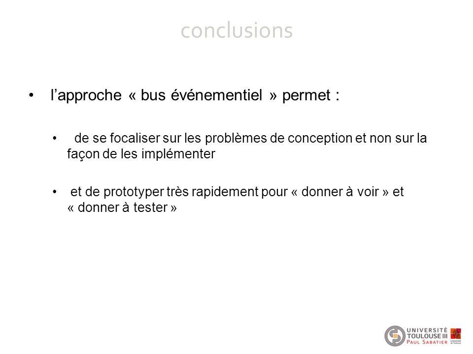 conclusions l'approche « bus événementiel » permet :
