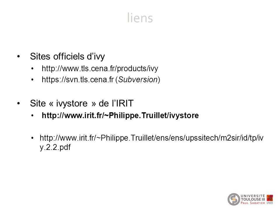 liens Sites officiels d'ivy Site « ivystore » de l'IRIT