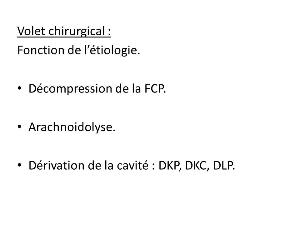 Volet chirurgical : Fonction de l'étiologie. Décompression de la FCP.