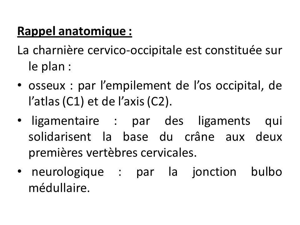 Rappel anatomique : La charnière cervico-occipitale est constituée sur le plan :
