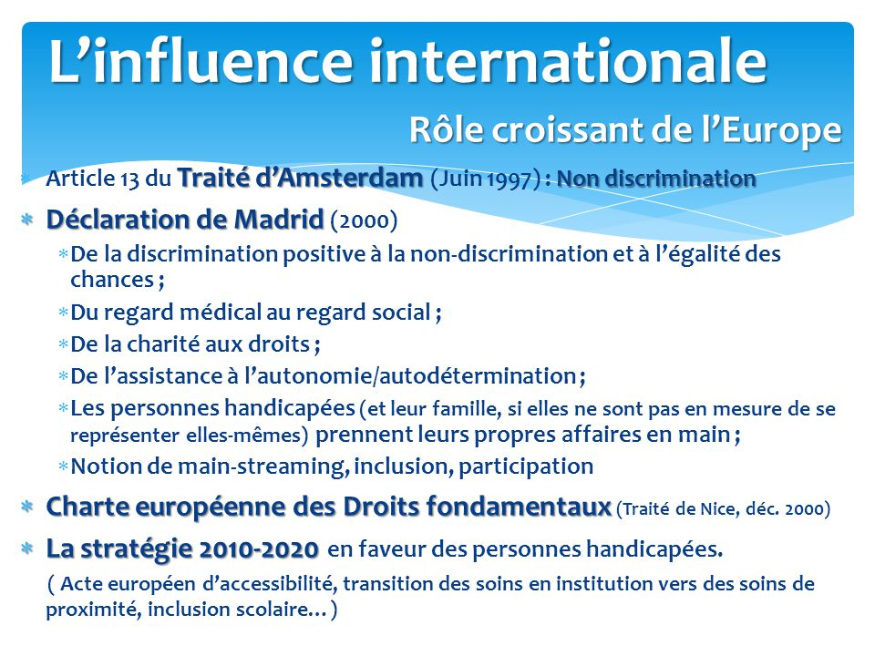 L'influence internationale