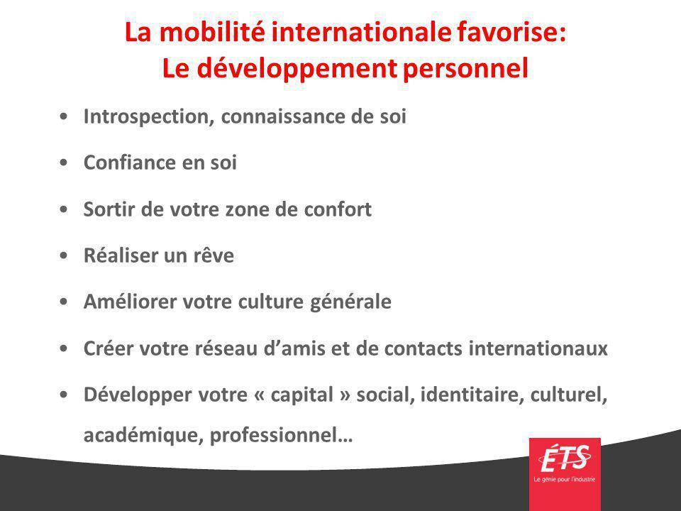 La mobilité internationale favorise: Le développement personnel