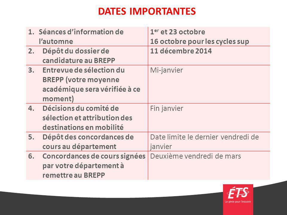 DATES IMPORTANTES Séances d'information de l'automne 1er et 23 octobre