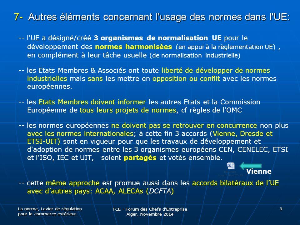 7- Autres éléments concernant l usage des normes dans l UE: