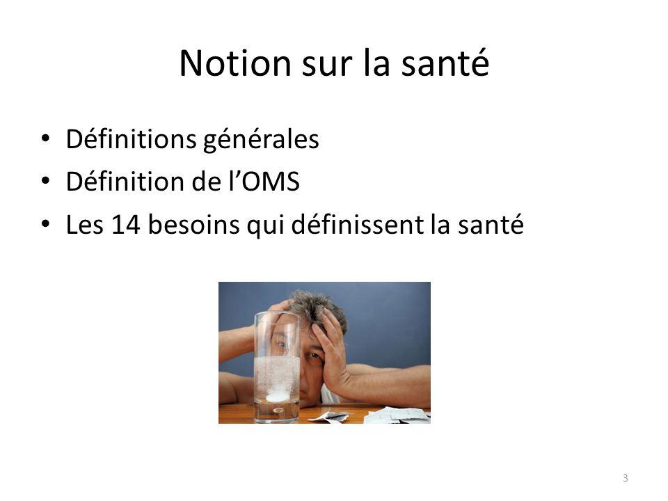 Notion sur la santé Définitions générales Définition de l'OMS