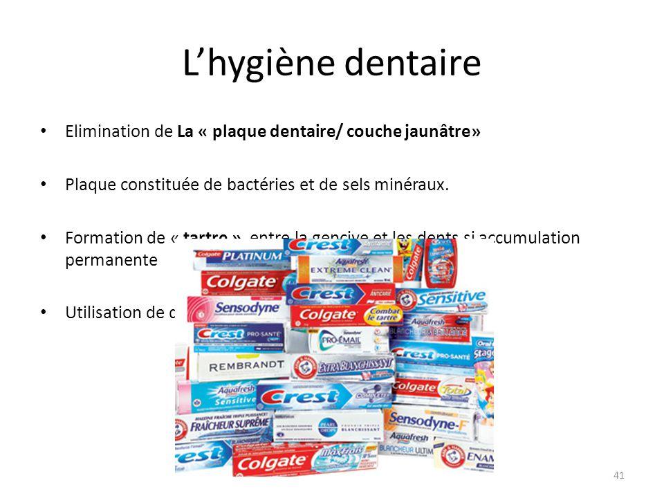 L'hygiène dentaire Elimination de La « plaque dentaire/ couche jaunâtre» Plaque constituée de bactéries et de sels minéraux.