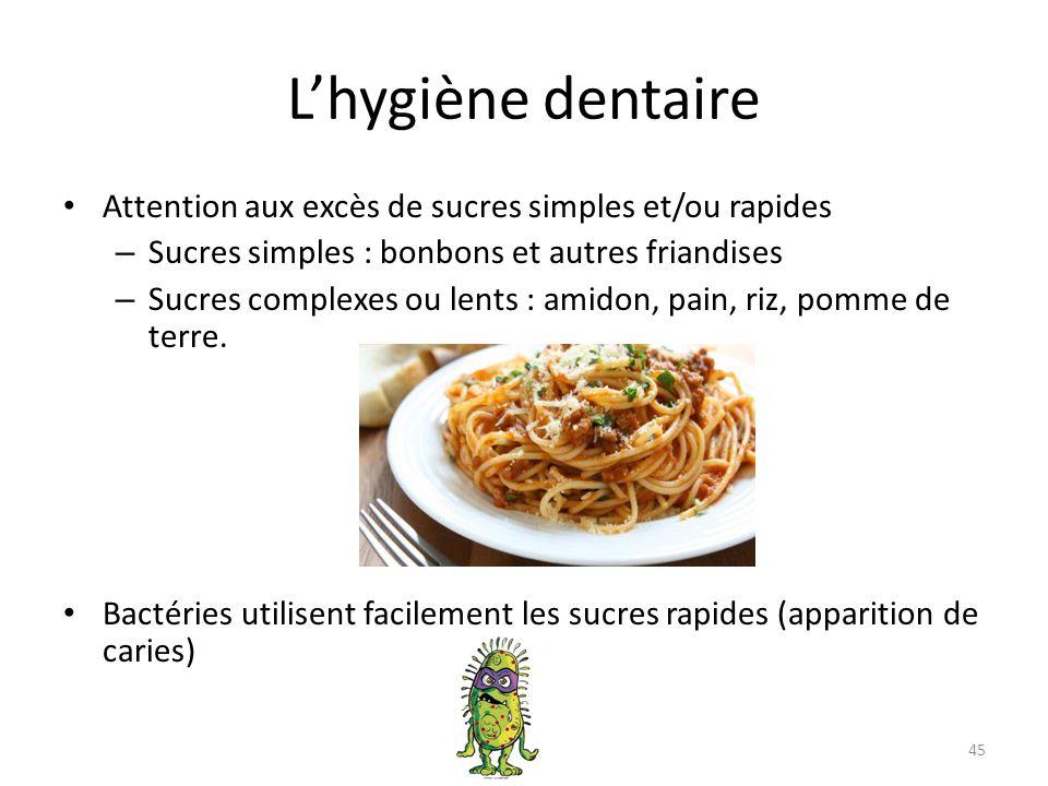 L'hygiène dentaire Attention aux excès de sucres simples et/ou rapides