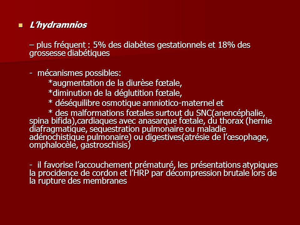L'hydramnios – plus fréquent : 5% des diabètes gestationnels et 18% des grossesse diabétiques. - mécanismes possibles: