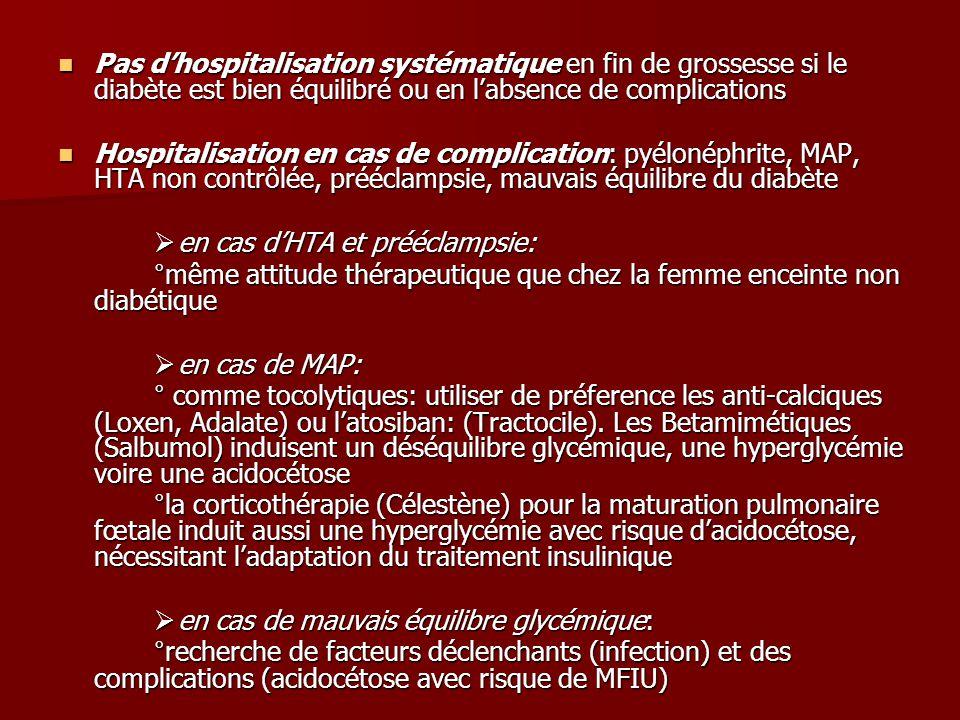 Pas d'hospitalisation systématique en fin de grossesse si le diabète est bien équilibré ou en l'absence de complications