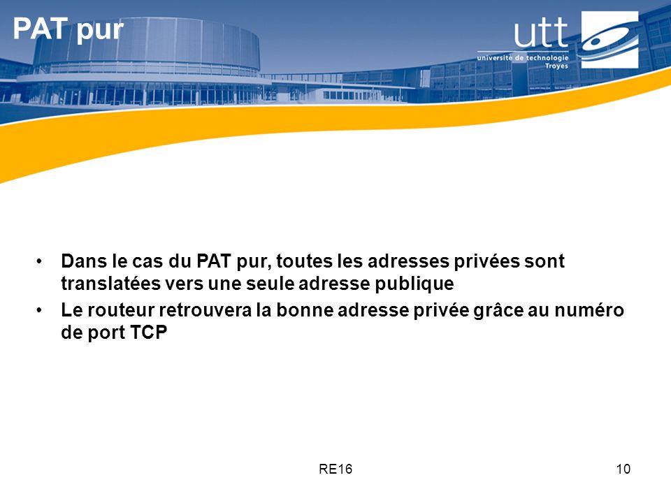 PAT pur Dans le cas du PAT pur, toutes les adresses privées sont translatées vers une seule adresse publique.