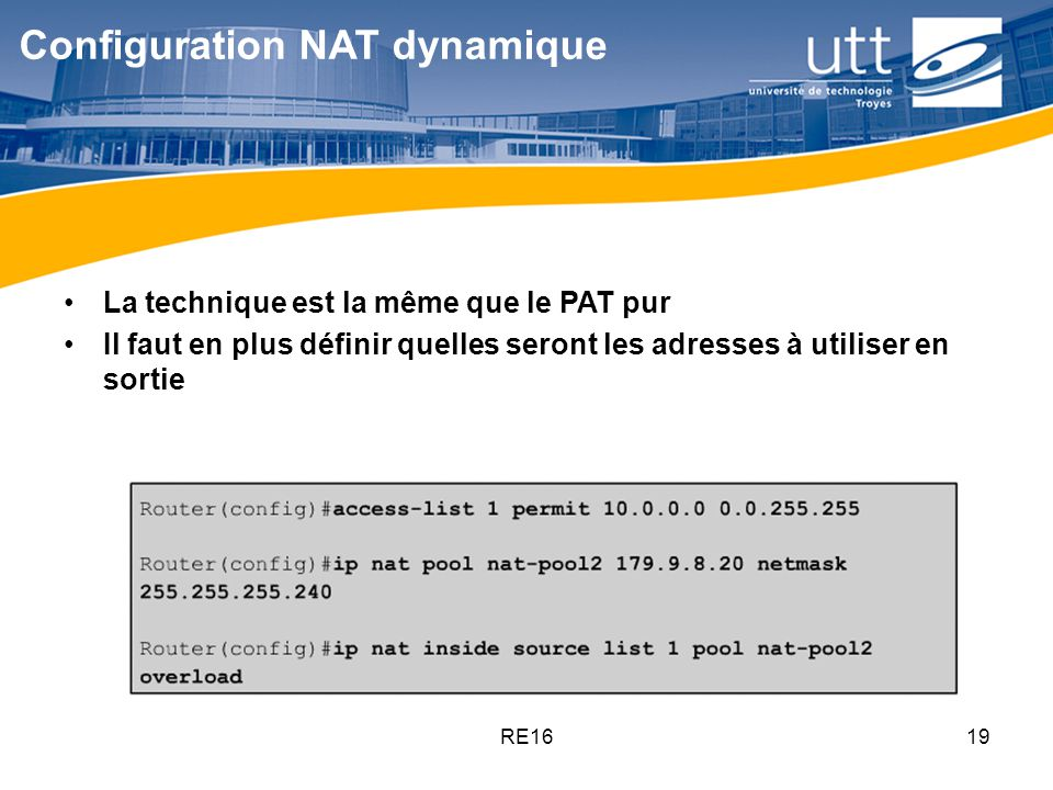 Configuration NAT dynamique