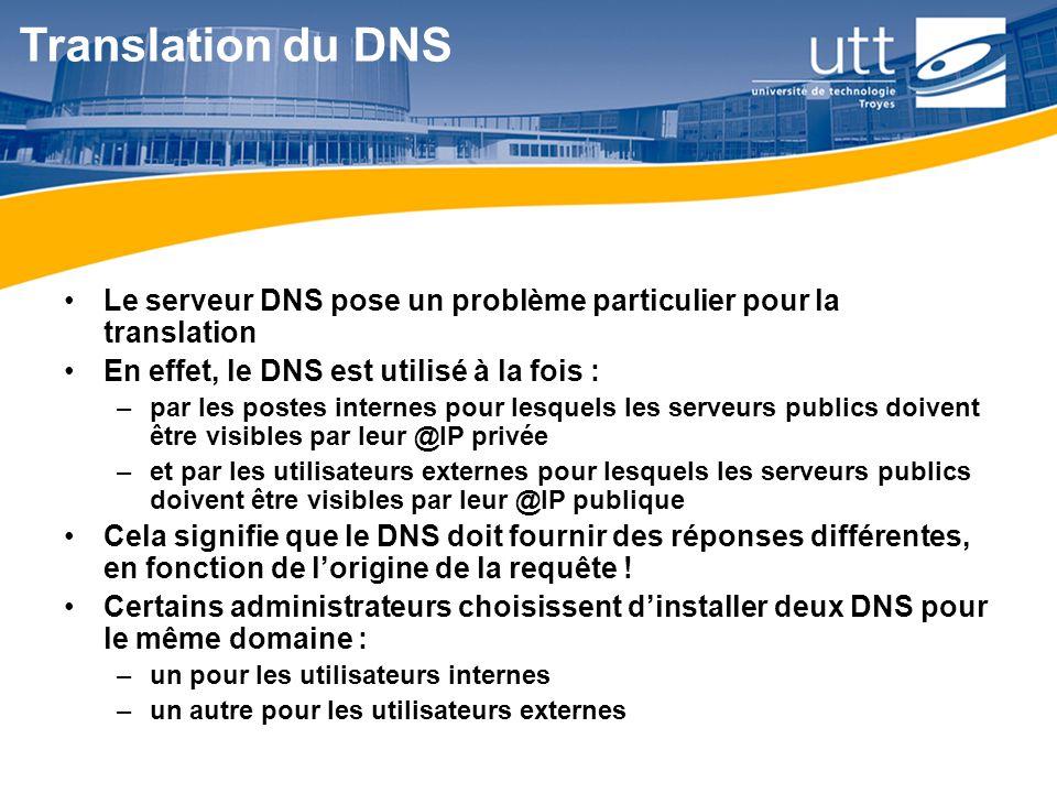 Translation du DNS Le serveur DNS pose un problème particulier pour la translation. En effet, le DNS est utilisé à la fois :