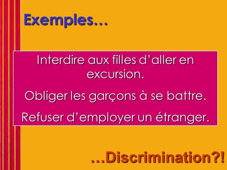 Exemples… …Discrimination ! Interdire aux filles d'aller en excursion.