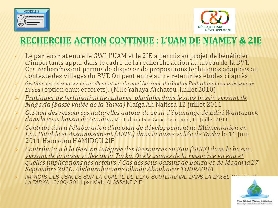 Recherche action continue : l'UAM de Niamey & 2IE