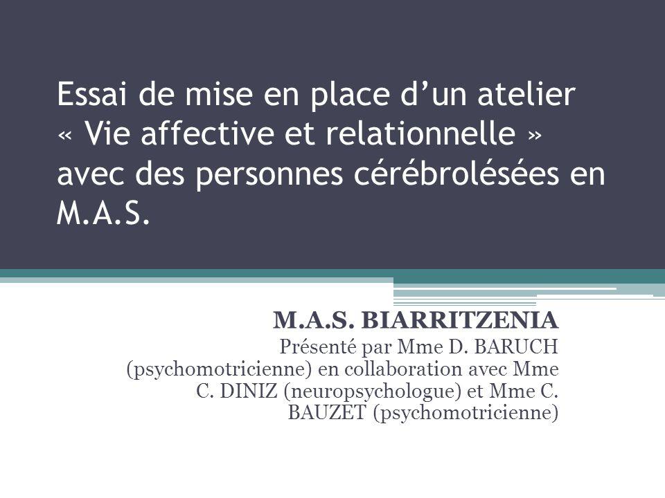 Essai de mise en place d'un atelier « Vie affective et relationnelle » avec des personnes cérébrolésées en M.A.S.