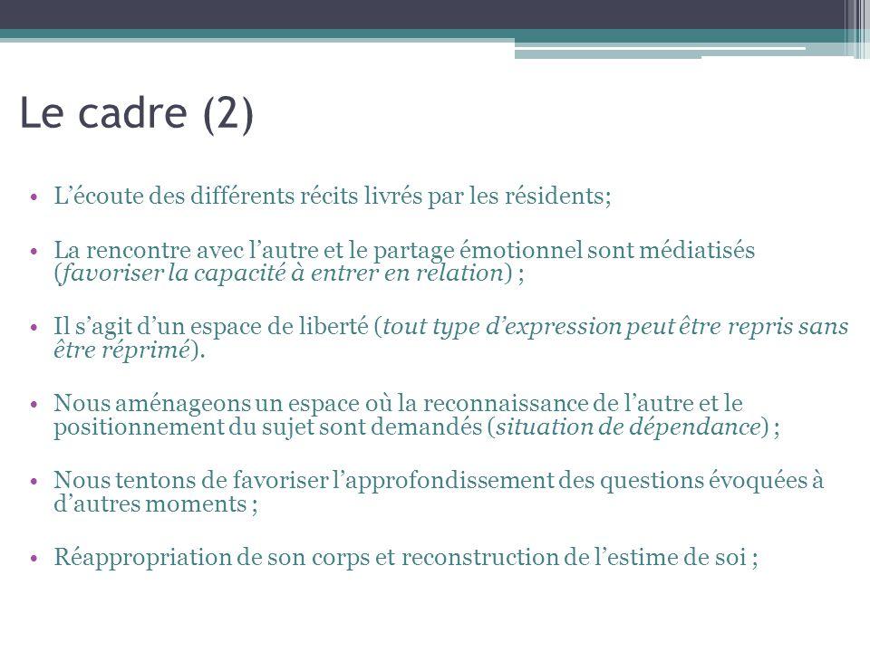 Le cadre (2) L'écoute des différents récits livrés par les résidents;