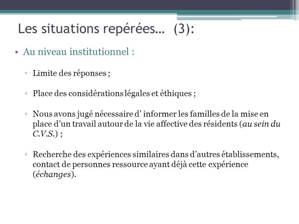 Les situations repérées… (3):
