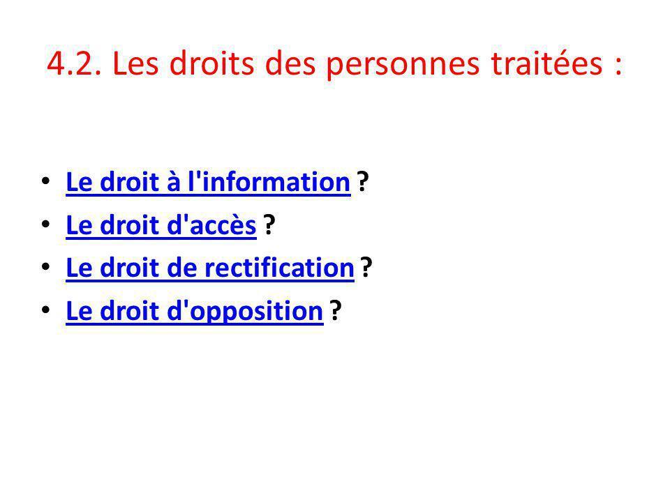 4.2. Les droits des personnes traitées :