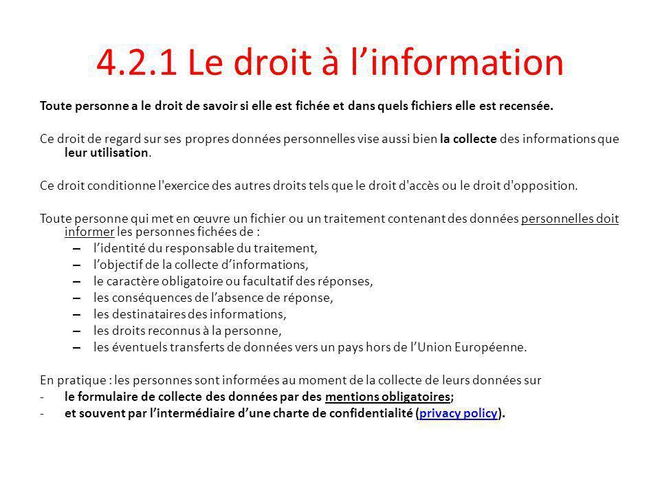 4.2.1 Le droit à l'information