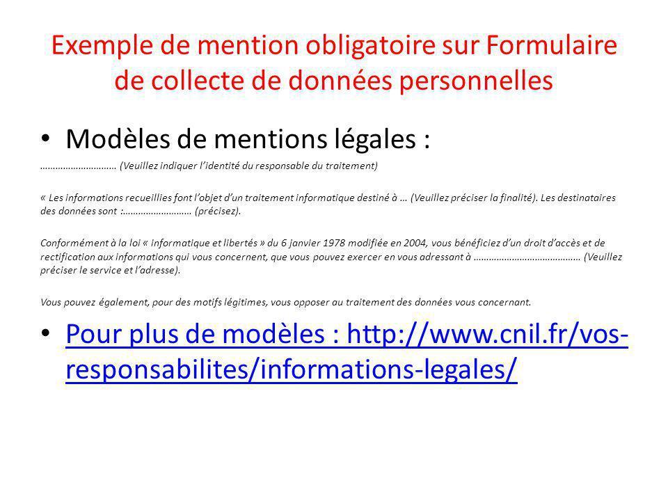 Modèles de mentions légales :