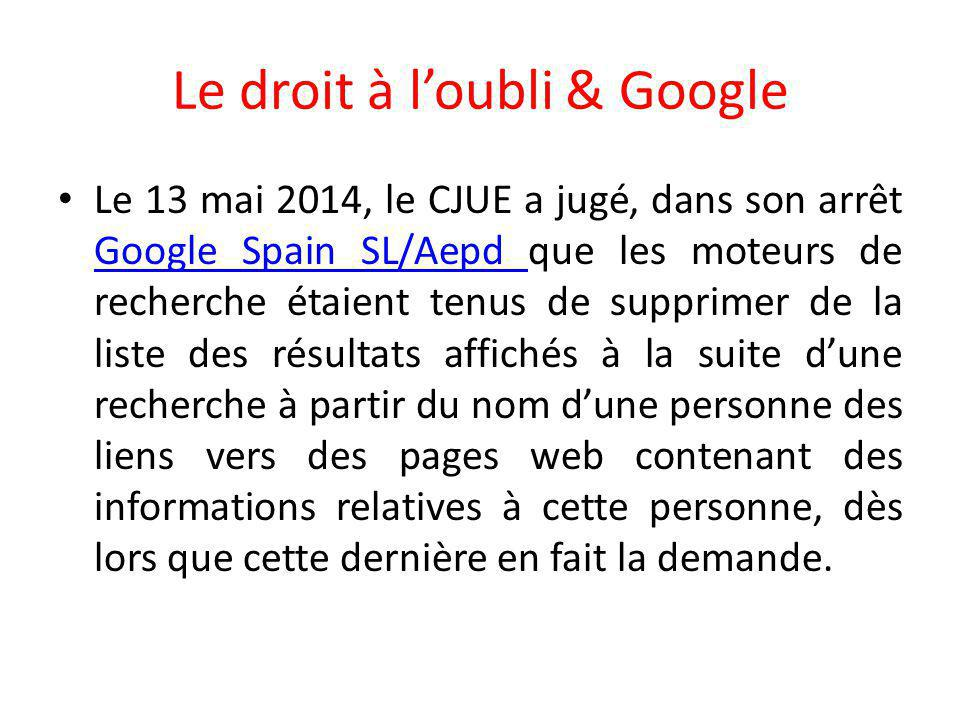 Le droit à l'oubli & Google