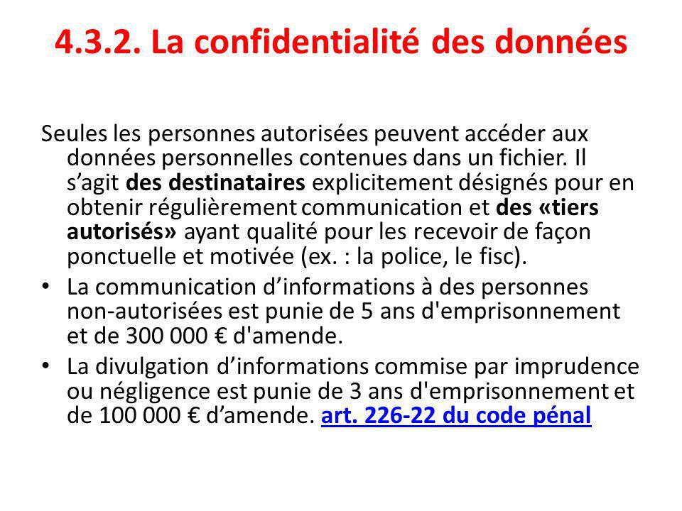 4.3.2. La confidentialité des données