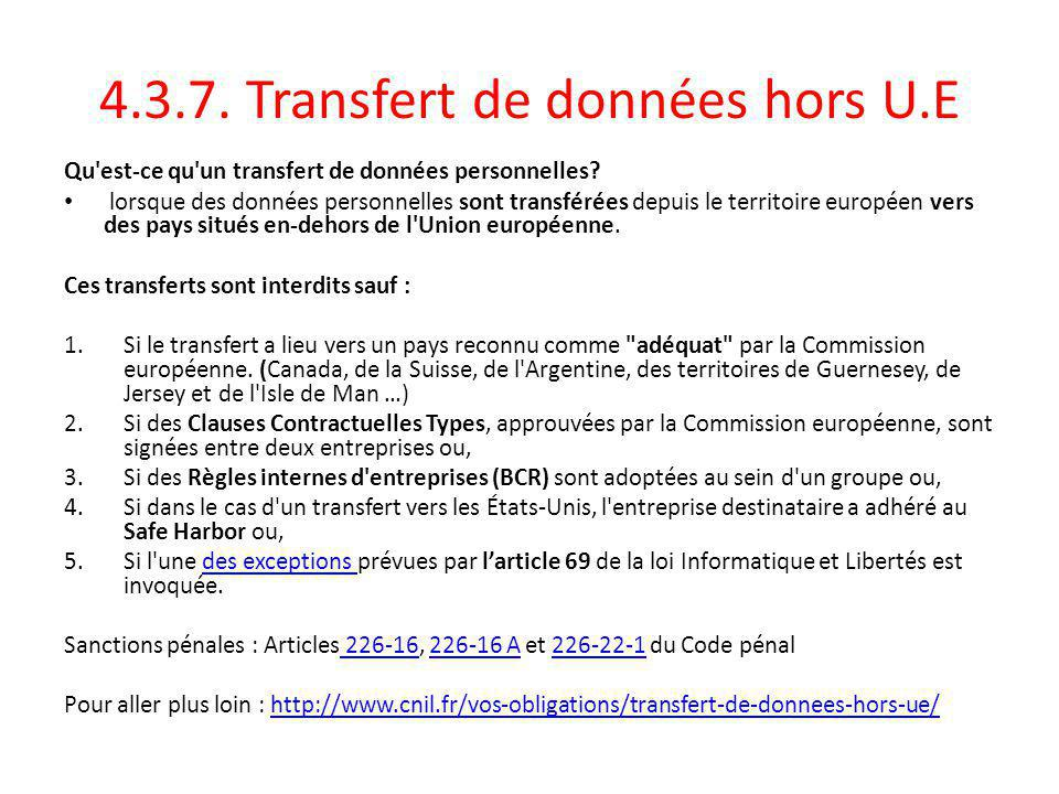 4.3.7. Transfert de données hors U.E