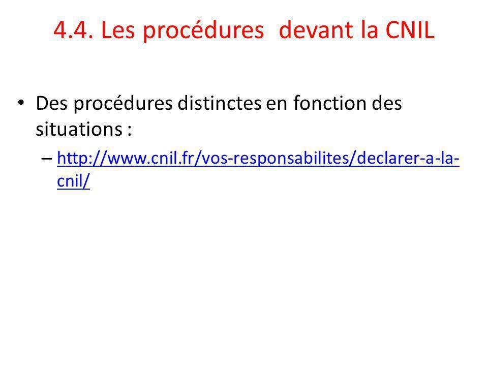 4.4. Les procédures devant la CNIL