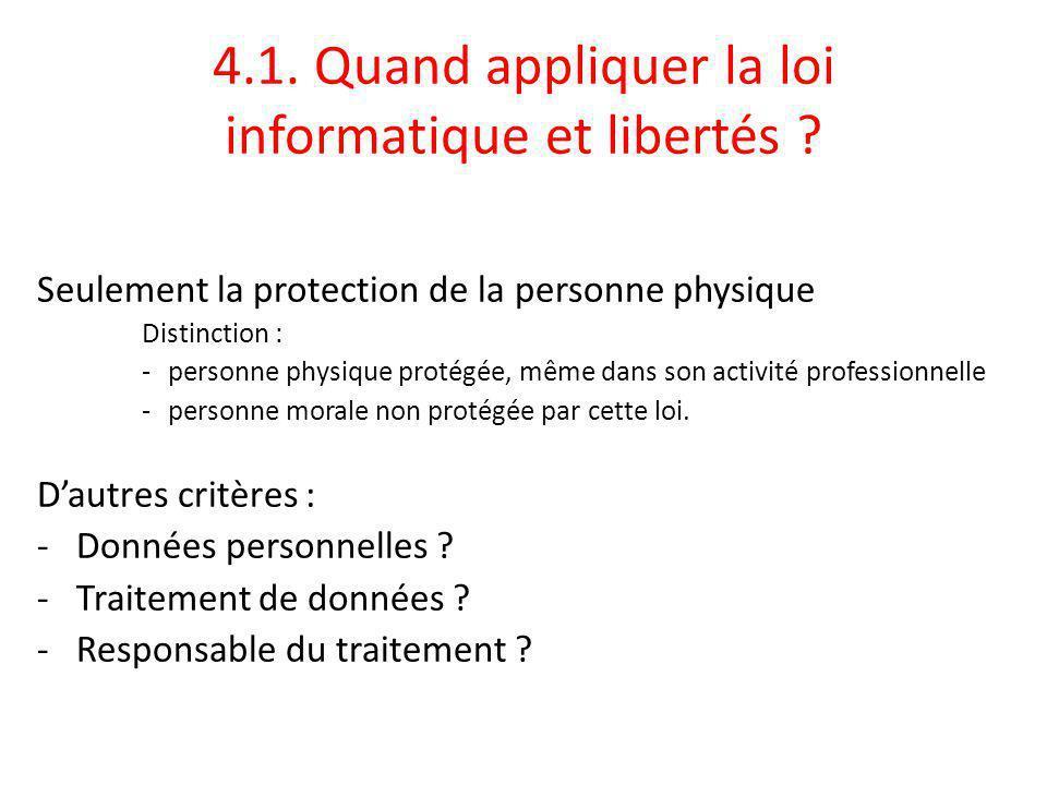 4.1. Quand appliquer la loi informatique et libertés